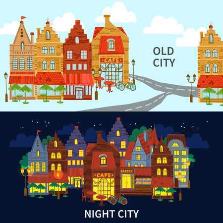 night school: City horizontal banner set with old style buildings day and night isolated vector illustration