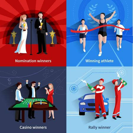 rally: Winning and awards icons set with nomination athletes casino and rally flat isolated vector illustration