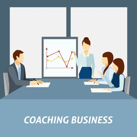 quick money: Effective business coaching strategies to apply in workplace for success presentation poster flat abstract vector illustration