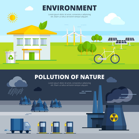 pollution: Environment and pollution of nature horizontal banners set flat isolated vector illustration