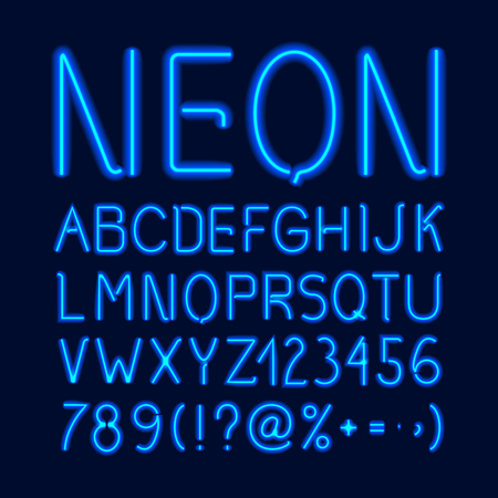 Neon glow alphabet with blue letters numbers and symbols isolated on dark background vector illustration