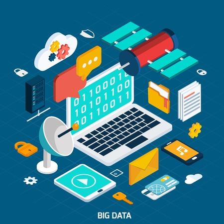 big: Concepto de datos grande con el cuaderno isométrico y los iconos digitales ilustración vectorial Vectores