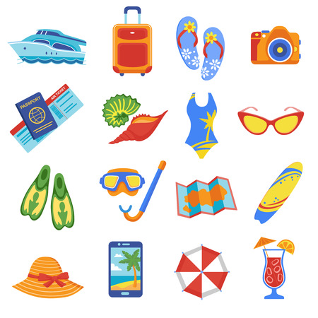 Summer holiday tropical beach vacation flat icons set with diving snorkel mask flippers equipment abstract vector illustration Illustration