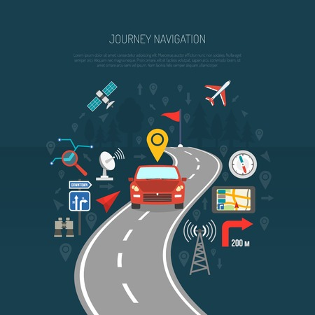 Map concept with car on the road and flat navigation icons set vector illustration