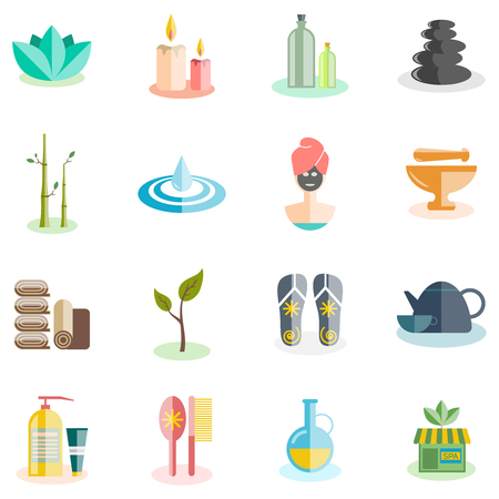 body care: Spa and beauty icons set with relax and cosmetics flat isolated vector illustration Illustration