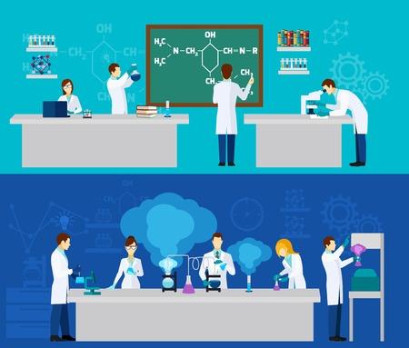 investigador cientifico: Científico banner horizontal establecido con la gente en la química del laboratorio aislado ilustración vectorial