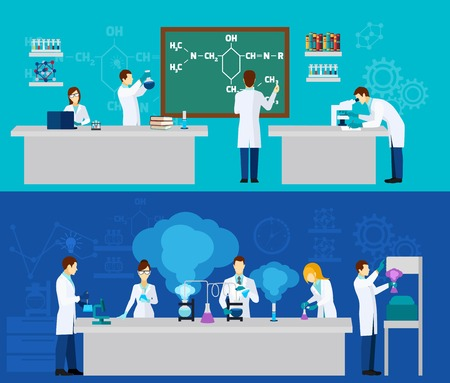 science lab: Scientist horizontal banner set with people in chemistry lab isolated vector illustration