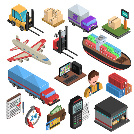 Delivery types and logistic chain isometric icons with loader truck ship aircraft container warehouse weighing machine isolated vector illustration Иллюстрация