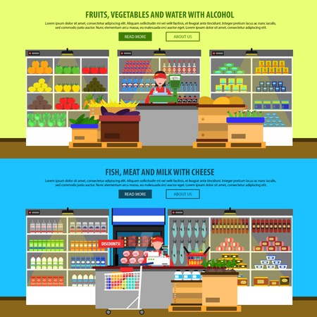 interior: Supermarket interior horizontal banners set with groceries and foodstuff on shelves isolated vector illustration Illustration