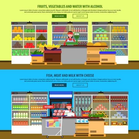 abarrotes: Supermercado interiores banners horizontales establecidas con comestibles y alimentos en los estantes aislados ilustración vectorial Vectores