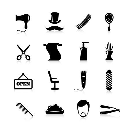 Barber pictogrammen zwart silhouet set met geïsoleerde kapsel snorren scheren scheermes vector illustratie Stock Illustratie