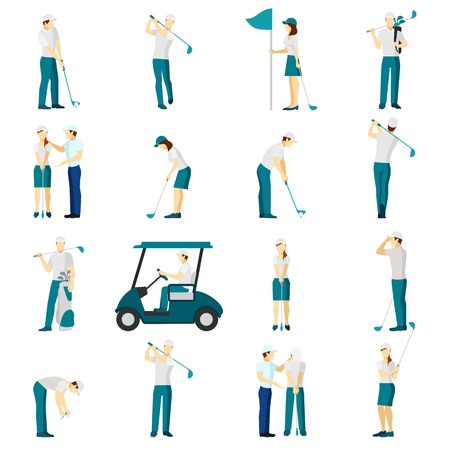 people  male: Male and female people silhouettes playing golf flat icons set isolated vector illustration Illustration