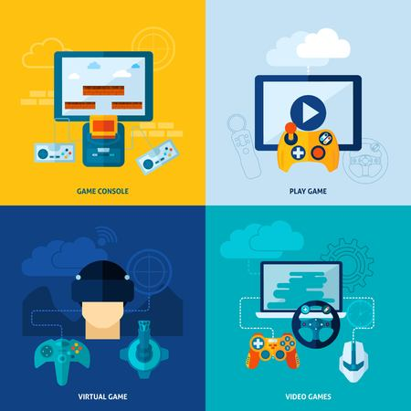 Video game design concept set with virtual play console flat icons isolated vector illustration