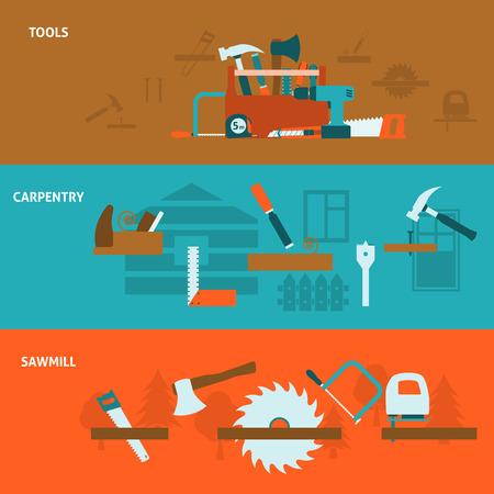 serrucho: Trabajos de carpintero de servicios banderas planas horizontales establecer cartel con la serrería y herramientas kit de ilustración vectorial abstracto