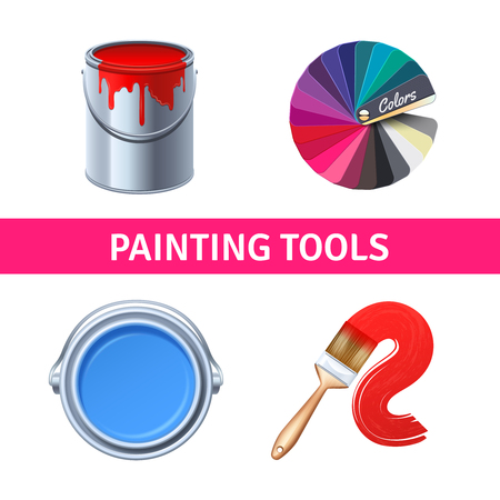color range: Painting tools realistic set with color range brush and can isolated vector illustration