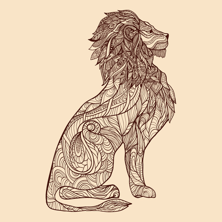 predators: Lion full length profile with sketch ornament on body vector illustration