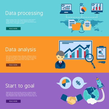 team business: Data analysis and processing for startup goals setting 3 flat horizontal banners set abstract isolated vector illustration Illustration