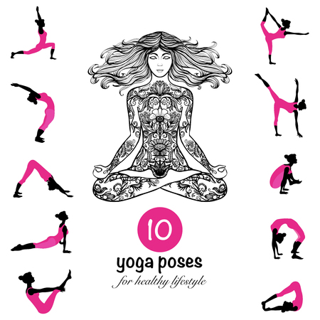 Ten essential yoga poses and techniques for healthy lifestyle pictograms composition banner black pink abstract vector illustration