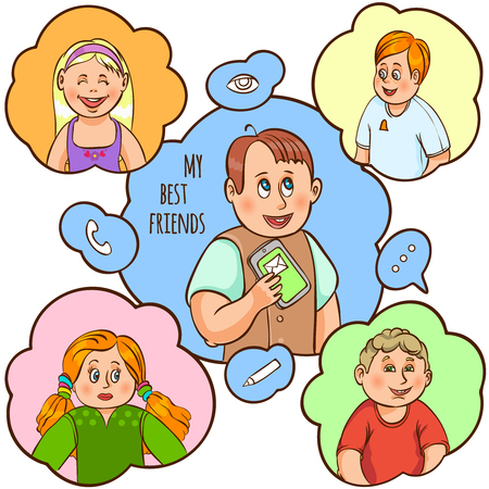 writes: Child and their amity and communication with best friend text color cartoon concept vector illustration