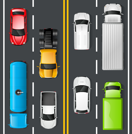 view: Highway traffic concept with top view cars and trucks on asphalt road vector illustration