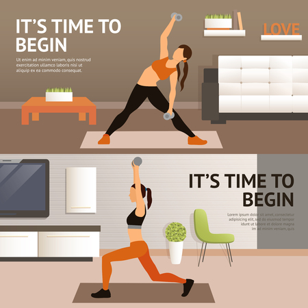 sport woman: Woman home fitness workout horizontal banner set isolated vector illustration