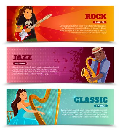 concert performance: Rock festival jazz and classic music concert with performing harpist flat banners set abstract isolated  vector illustration