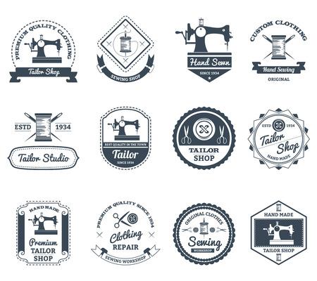 maquina de coser: Mejor sastre de la ciudad y la casa decorador colección etiquetas negras con máquina de coser vieja abstracta aislado ilustración vectorial Vectores