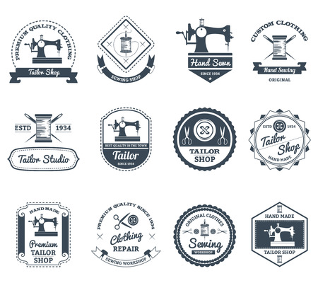 Best town tailor and house decorator black labels collection with old sewing machine abstract isolated vector illustration