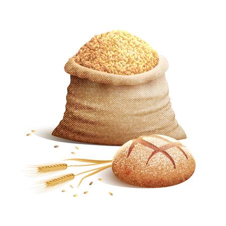 pain: Pointes de pain de blé et sac de grains ou de céréales avec des ombres concept de couleur 3d illustration vectorielle