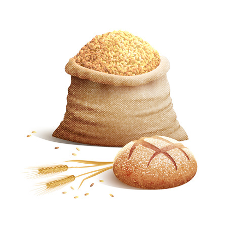 Bread wheat spikes and bag of grains or cereal with shadows 3d color concept vector illustration Illustration