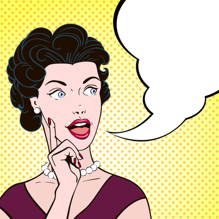Bella donna fumetti emotiva con messaggio bolla stile vintage illustrazione del fumetto di colore ritratto vettore Archivio Fotografico - 45325027