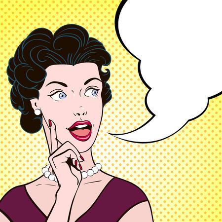 Mooie emotionele comics vrouw met tekstballon vintage stijl kleur cartoon portret vector illustratie