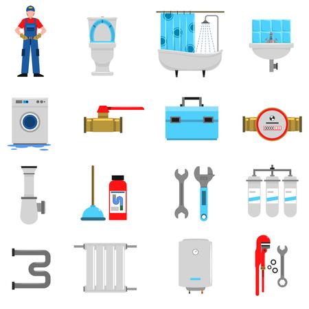 llave de agua: Iconos planos de servicios Fontanería establecen con aislado aparatos baño émbolo ilustración vectorial Vectores