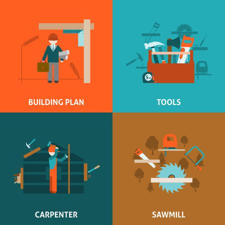 menuisier: Carpenter bâtiment et rénovation de maison notion 4 icônes plat carré de composition avec des outils résumé, vecteur, illustration isolé
