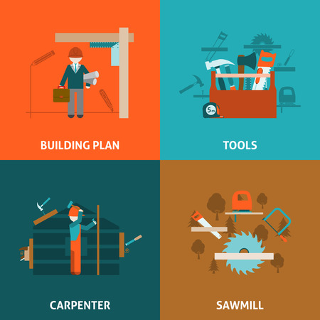 carpenter: Carpenter building and  house renovation concept 4 flat icons composition square with tools abstract vector isolated illustration
