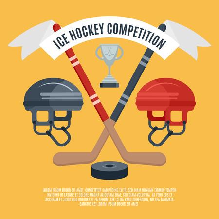 hockey sobre cesped: Bandera plana deporte de invierno anuncio competici�n concesi�n de hockey temporada de hielo con disco y palos abstracto ilustraci�n vectorial