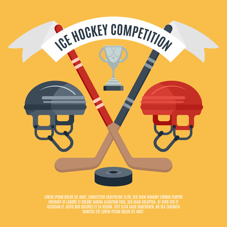 hockey equipment: Winter sport season ice hockey competition award announcement flat banner with puck and sticks abstract vector illustration