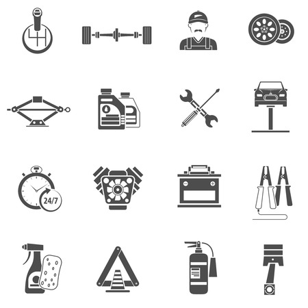 Car service icons black set with auto spare parts isolated vector illustration Illustration