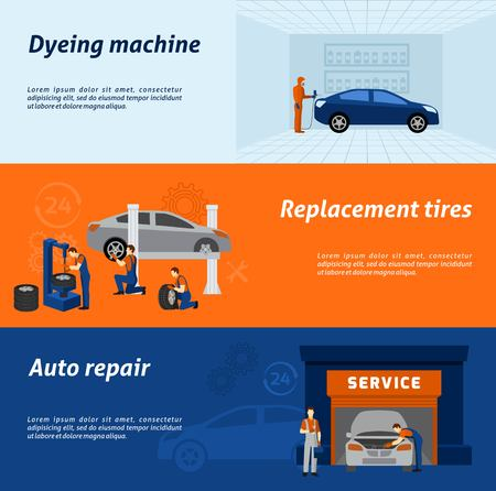 Automotive dyeing and recoloring tires replacement and auto repair service 3 flat banners abstract vector isolated illustration