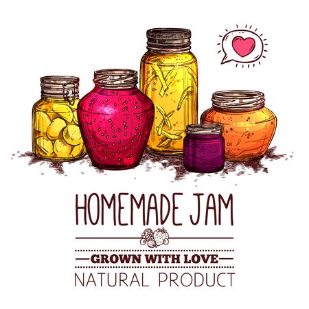hand jam: Homemade jam poster with hand drawn glass jars set vector illustration