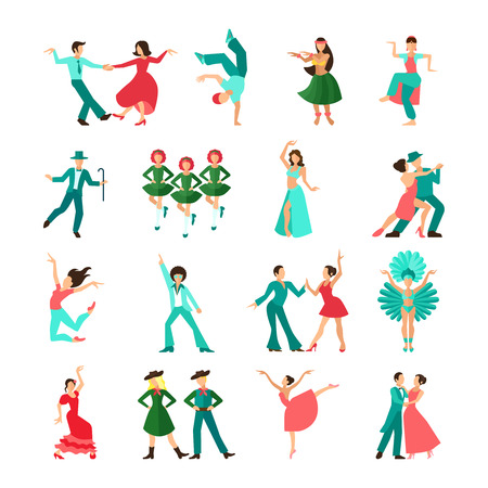bailando flamenco: Varios hombres del baile estilo solitario y pares iconos planos aislados ilustraci�n vectorial
