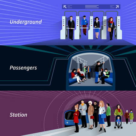 operating system: Subway passengers by payment checkpoints at the underground metro station flat banners set abstract isolated vector illustration Illustration