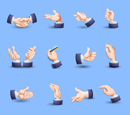 hesitating: Hand gestures flat icons set expressing approval with thumb up and pointing finger abstract vector isolated illustration