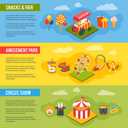 snack: Chapiteau circus in amusement fair park with snacks 3 vertical flat banners set abstract isolated vector illustration