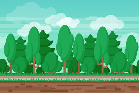Computer and handheld electronic devices interactive videogame seamless summer forest landscape border background abstract vector illustration Illustration