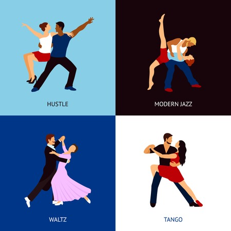 jazz modern: Dancing people design concept set with hustle modern jazz waltz and tango styles flat icons isolated vector illustration