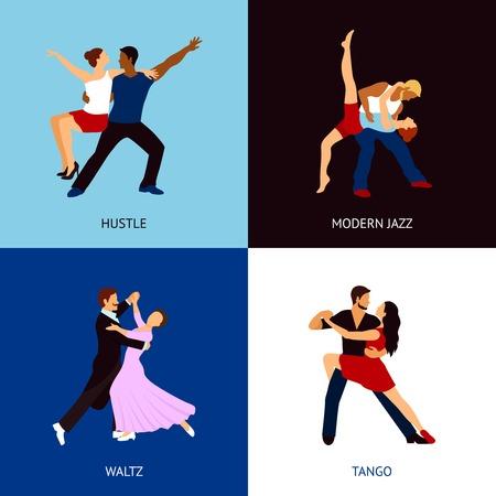 hustle: Danza persone concetto di scenografia con gli stili di caos moderno valzer jazz e tango icone piane isolato illustrazione vettoriale Vettoriali
