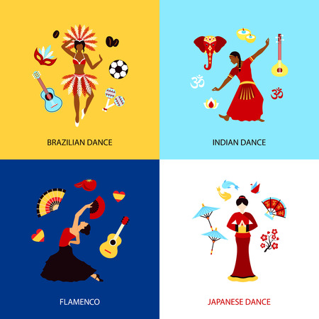 hustle: Woman dancing design concept set with brazilian indian japanese dance and flamenco isolated vector illustration