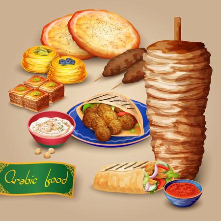 comida arabe: Conjunto comida �rabe con hummus kebab shawarma y pita ilustraci�n vectorial de dibujos animados