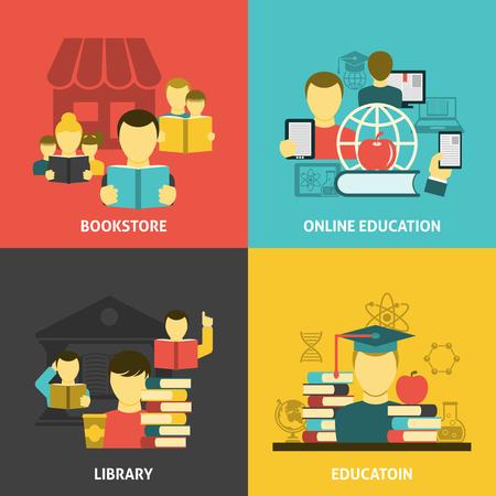 estudiante: Concepto de lectura de educación científica tradicional y en línea 4 iconos planos composición de la plaza banner abstracto ilustración vectorial aislado